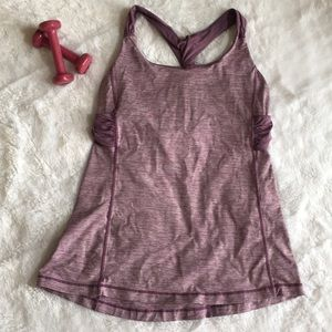 Size 12 purple Lululemon yoga top with bra support